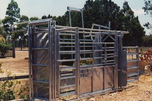 Galvanised cattle crush local pastoral Co Ravenshoe North Qld 1994